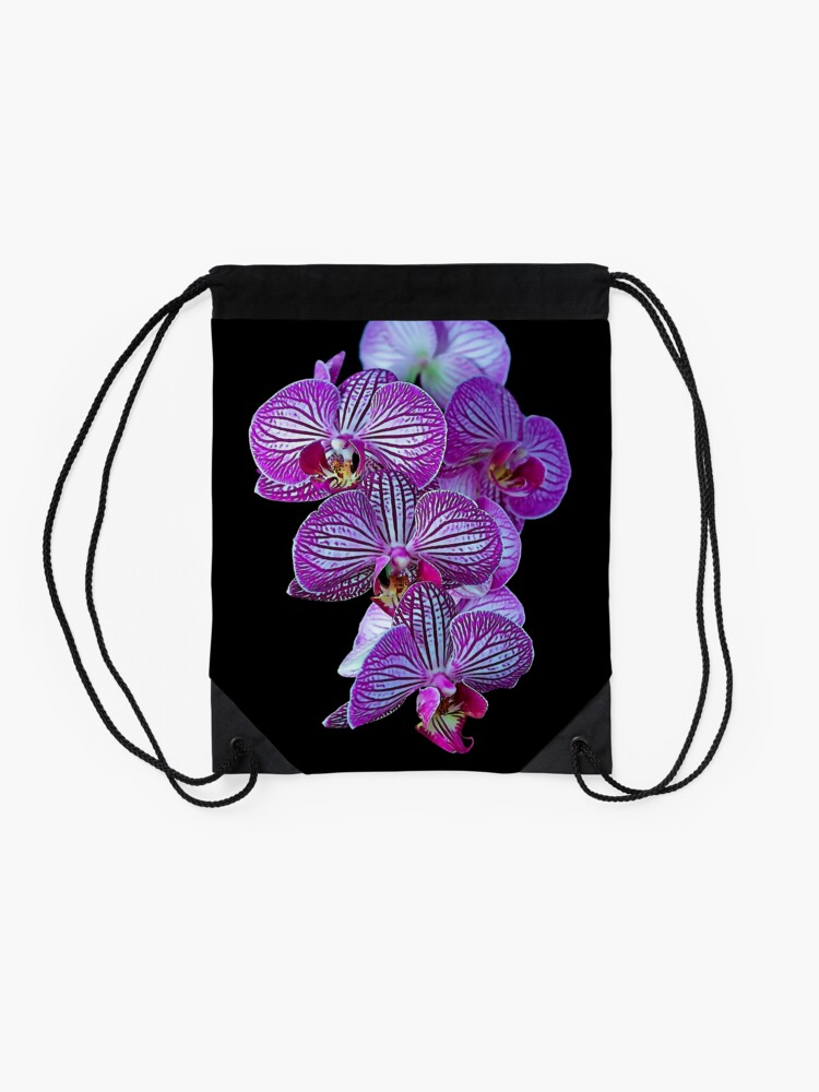 Alternate view of Purple Veined Orchid Drawstring Bag