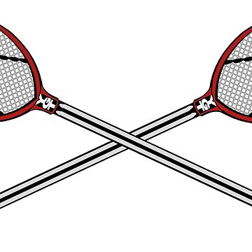 Lacrosse Goalie Sticks Crossed Red by YouGotThat