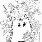 Nette Kawaii Katze Neko Yoko in den Garten-Blumen von Natalie Cat