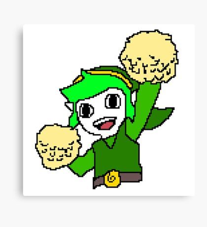 Legend of Zelda Pixelart - Pom pom Link 128x128 (Green) Canvas Print