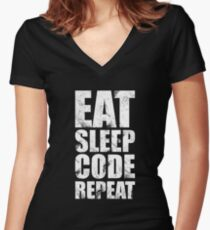 Eat Sleep Code Repeat (Software Engineer/Programmer/App Developer) Women's Fitted V-Neck T-Shirt