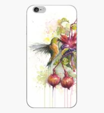 Hummingbird Eating from Fuchsia Flower Watercolor iPhone Case