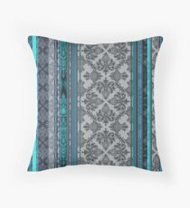 Teal, Aqua & Grey Vintage Bohemian Wallpaper Throw Pillow