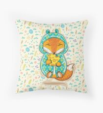 Happy fox Throw Pillow