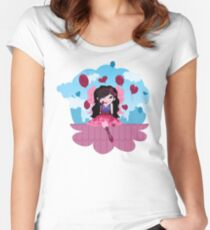 Cute cartoon love fairy with hearts and balloons Women's Fitted Scoop T-Shirt