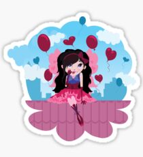 Cute cartoon love fairy with hearts and balloons Sticker