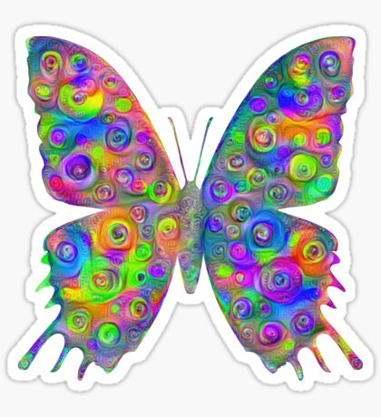 #DeepDream Motley Butterfly Sticker