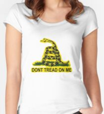 Don't Tread On Me Gadsden Flag American Flag  Women's Fitted Scoop T-Shirt