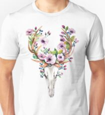 Boho watercolour skull with purple flower crown Unisex T-Shirt