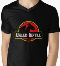"""Jurasic Park Funny ''Useless Reptile"""" Men's V-Neck T-Shirt"""