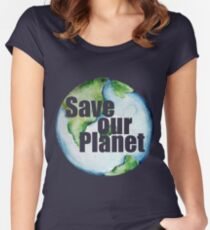 Save Our Planet Earth Day Women's Fitted Scoop T-Shirt