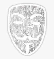 V For Vendetta - Guy Fawkes Masks - Typography Sticker