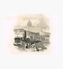 Small procession above St Peter's, Rome Photographic Print
