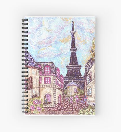Paris Eiffel Tower inspired pointillism landscape by Kristie Hubler Spiral Notebook