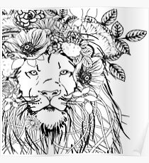 Lion With Flowers in His Hair Poster