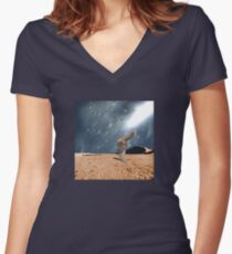 Left Behind  Women's Fitted V-Neck T-Shirt