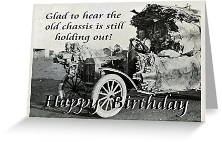 vintage chassis with kangaroo skins happy birthday humor