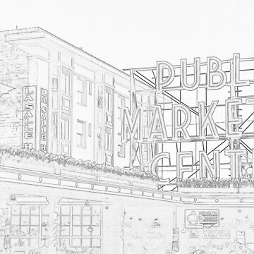 Pike Place Market Line Drawing by kchase