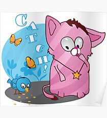 Cute funny kitten with bird Poster
