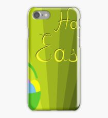 holiday Easter basket with eggs on the background iPhone Case/Skin
