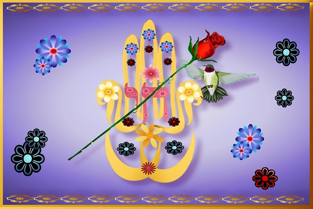 Hamsa and Flowers by Lotacats