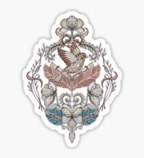 Woodland Birds - hand drawn vintage illustration pattern in neutral colors Sticker