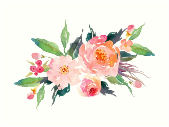 Watercolor Flower Bouquet By Junkydotcom