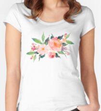 Watercolor Flower Bouquet  Women's Fitted Scoop T-Shirt