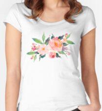 Fitted Scoop T-Shirt Ramo de flores de acuarela