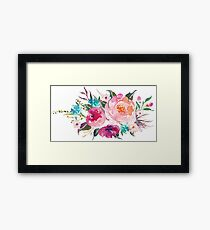 Floral Watercolor Bouquet Turquoise Pink Framed Print