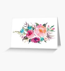 Floral Watercolor Bouquet Turquoise Pink Greeting Card