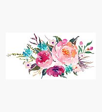 Floral Watercolor Bouquet Turquoise Pink Photographic Print