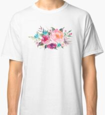 Floral Watercolor Bouquet Turquoise Pink Classic T-Shirt