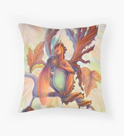 Maple Leaf Fairy Dragon Throw Pillow