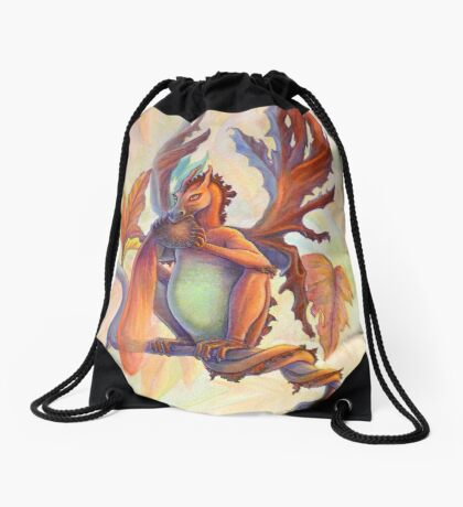 Maple Leaf Fairy Dragon Drawstring Bag