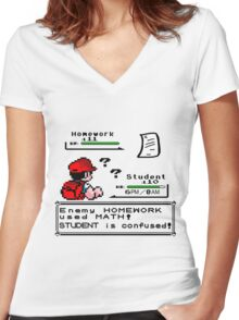 Homework Pokemon Battle Women's Fitted V-Neck T-Shirt