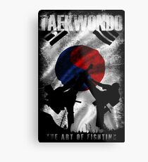 Taekwondo Mountain Fighter White Vintage 2 - Korean Martial Art  Metal Print