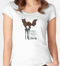 Flounce, the Fox on Stilts (Sky) Women's Fitted Scoop T-Shirt