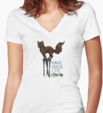 Flounce, the Fox on Stilts (Sky) Women's Fitted V-Neck T-Shirt