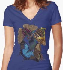 FF - Buttefly-1 Women's Fitted V-Neck T-Shirt