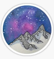 Moon Galaxy Mountain Travel Wanderlust Stars Space Boho Hipster Print Sticker
