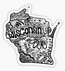 Hipster Wisconsin State Zentangle Sticker