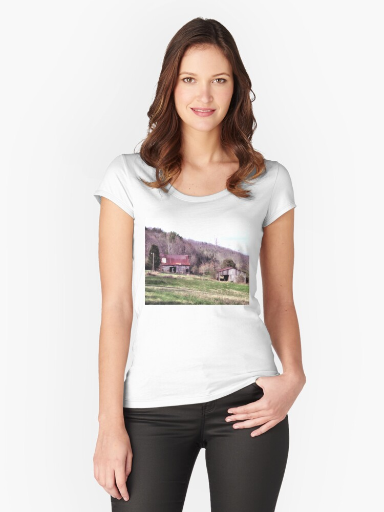 """""""A Countryside View from the Car Window""""... prints and products Women's Fitted Scoop T-Shirt Front"""