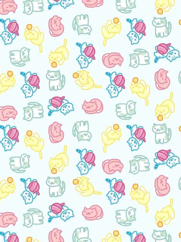 Pastell Neko Atsume Muster von PlatypusDoodles