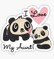 Kids Panda Bears I Love My Aunt Sticker