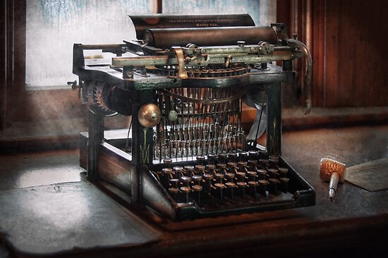 Steampunk - Typewriter - A really old typewriter  by Michael Savad