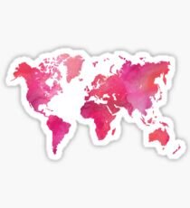 Pink Watercolor Texture World Map Sticker