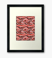 Seamless pattern with funny Moray eels Framed Print