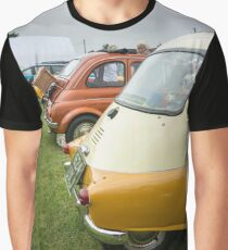 Rear View of Several Classic Cars in a Line Graphic T-Shirt