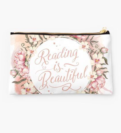 Reading is Beautiful floral wreath Studio Pouch